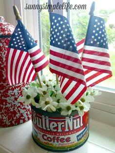 vintage patriotic decor, red white and blue, 4th of July, Memorial day, Veteran's day