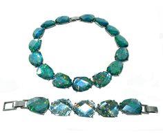 Vintage Chunky Aqua Lucite Necklace Bracelet Set, Faux Opal Necklace Bracelet Set, Vintage Jewelry, Fashion Necklace Earrings by JeweledLuv on Etsy