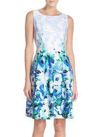 women's chetta b floral print sateen fit & flare dress