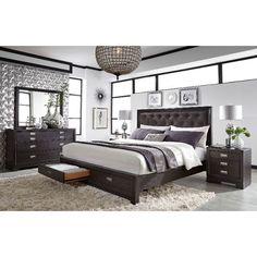 Licorice Black Contemporary 6 Piece Queen Bedroom Set - Front Street