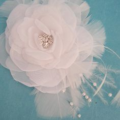 Wedding Hair Rose in White Organza with Feathers by HARTfeltart