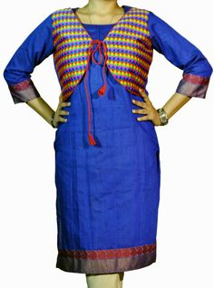 ABHISAR Kurti 005.Main:This Blue Cotton Silk Long Kurta is a perfect blend of fashion with elegance. The multi-colored vibrant front jacket adds aura to the dress. It's light weight and its silk texture makes it suitable as a regular wear as well as a party wear. When paired with minimum jewelries, it's perfect for office or a day out. Wear it with heavy jhumkas and bangles for the diva look in any celebration. Match the kurta with any cotton or silk bottom for the perfect look.