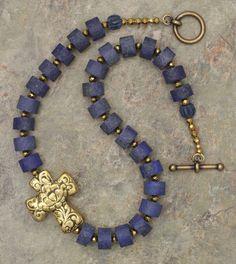 Lapis Lazuli ans Brass Cross Necklace - Lapis Lazuli ans Brass Cross Necklace Cross Jewelry, Pearl Jewelry, Jewelery, Jewelry Necklaces, Bracelets, Necklace Box, Flower Necklace, Beaded Necklace, Earrings