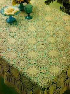 Crochet tablecloth. Site in Russian, but pattern and chart in English!! Oh happy day!!