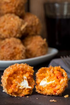 Tomato Risotto Balls, filled with creamy boursin cheese, coated in breadcrumbs and fried until golden and crisp.
