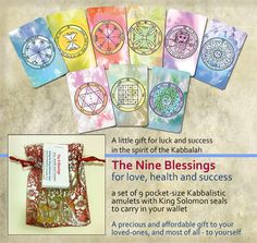 9 Kabbalistic pocket-size Amulets with King Solomon Seals packed in decorative organza bag - the perfect gift at affordable price