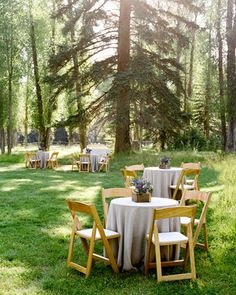 """Small tables dot a nearby meadow for the cocktail hour. Hors d'oeuvres such as """"Wyomato"""" gazpacho are passed on platters made from thinly sliced tree trunks. Forest Wedding, Woodland Wedding, Rustic Wedding, Forest Party, Magnolia Plantation, Jackson Wyoming, Jackson Hole, Wedding Themes, Wedding"""