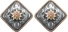 """1/2"""" antiqued sterling concho featuring hand cut 14 karat gold center flowers and hand twisted rope edges. Item # 011-052."""