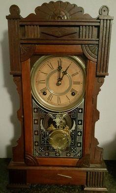 Antique 1880s Wm. Gilbert Calpe Gingerbread Mantle Mantle Clock Reverse Painted