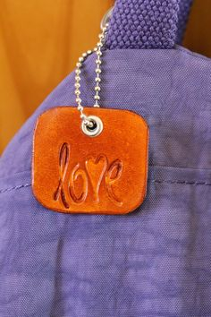 Love Bag Charm  Leather Love Zipper Pull  by TinasLeatherCrafts. Repin To Remember.