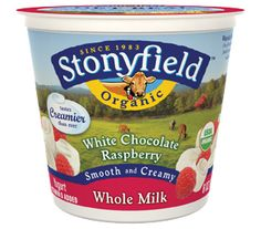 Stonyfield's whole milk White Chocolate Raspberry organic yogurt is an indulgent, nutritious treat with six active cultures.  It's gluten-free, organic and always delicious. #stonyfield