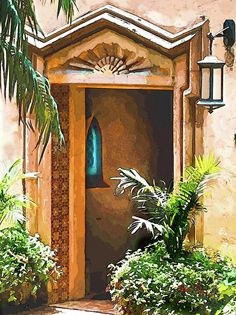 """""""Pinewood Estate Entrance In Watercolor"""" Photo-Painting by Susan Molnar. See all my Coastal and Tropical artwork at www.Susan-Molnar.Pixels.com."""