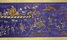 Three large Chinese embroidered wall hangings and a table frontal  19th/early 20th century  Richly woven on violet and yellow silk grounds with narrative scenes, depicting official gatherings. The largest: 70cm x 342cm (27.1/2in x 134.1/2in) (4).