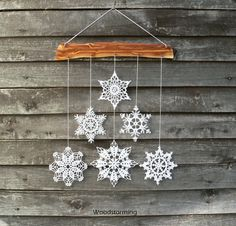 Similar Items As Christmas Deco – Snowflakes Mobile – Christmas Home Decor – Wall Decor – Snowflake And Wood Ornament For Home On Etsy Christmas Wall Art, Crochet Christmas Ornaments, Christmas Home, Christmas Holidays, Christmas Crafts, Elegant Christmas, Holiday Tree, Christmas Angels, Christmas Christmas