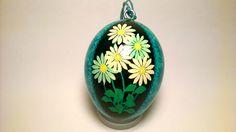Pysanky, Easter EggOrnament - White & Blue Daisy Hanging Pysanky・Ukrainian Egg for Home Decor