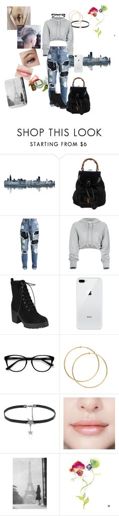 """""""Untitled #40"""" by emotional-dino ❤ liked on Polyvore featuring All My Walls, Gucci, Off-White, EyeBuyDirect.com, Love Rocks and iCanvasART"""