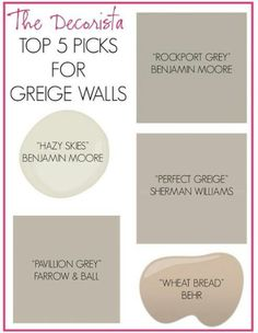 More taupe grey paint colors. // Way to blend existing taupe walls with desired grey: transition spaces with greige. Greige Walls - had to finally create this board. Grey Paint Colors, Wall Colors, House Colors, Gray Paint, Neutral Paint, Neutral Colors, Hallway Colors, Best Greige Paint Color, Hallway Paint