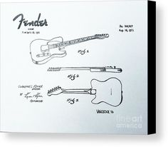 1951 FENDER Guitar US Patent graphite pencil sketched art from the art studio of Scott D Van Osdol available at fineartsamerica.com