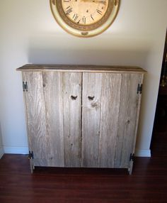 Reclaimed Wood Cabinet Fenced Doors. LARGE Wooden Pantry. Wooden ...