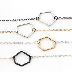 The GEO Collection Pentagon or Hexagon, with 3 colors: polished silver, oxidized silver or 14K gold plated. 55.00