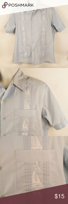 48b2aa96 Guayabera Haband Paterson Shirt Sailboats Mens L Vintage Guayabera by  Haband of Paterson Light Blue Shirt