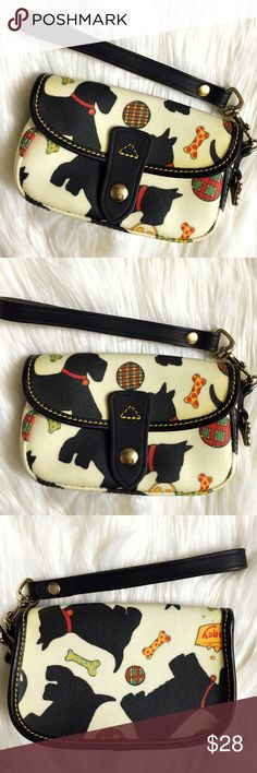 Dooney & Bourke Black Scottish Terrier Wristlet Pre-loved in great condition! This Dooney and Bourke Black Scottish Terrier Clutch Wristlet is absolutely adorable! Perfect for any Scottie (Scotty) owner or dog lover! Very clean inside and out except for 2 small pen marks on the back and 1 small pen mark on the bottom. The white has yellowed over time. This design has been discontinued so your chance to grab iy here! Perfect to use as a wallet as well. Dooney & Bourke Bags Clutches…