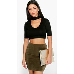 Boohoo Enya Cut Out Neck & Back Choker Crop found on Polyvore featuring polyvore, women's fashion, clothing, tops, black, cut out long sleeve top, long sleeve crop top, basic t shirt, high neckline crop top and ribbed crop top