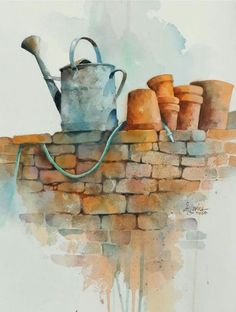 by Alexis Lavine- inspiration for gardening painting Watercolor Journal, Watercolour Painting, Watercolor Flowers, Painting & Drawing, Watercolours, Watercolor Sketch, Watercolor Techniques, Painting Techniques, Watercolor Pictures