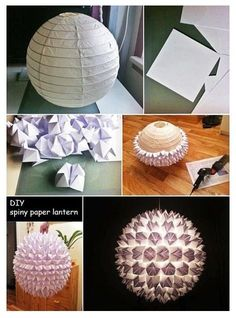 """Pinspiration"" diy decor-cool pendant lamp with origami craft (we can whip this up, no instructions needed, right? ;-)    [just make the hand paper thing like when we were kids!…] ki"