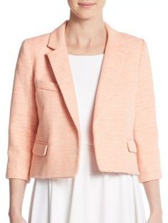 Milly Cropped Cotton & Linen Blend Tweed Jacket