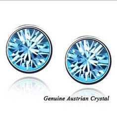 2016 Hot Round Stud Earrings Crystal From Swarovski for Women Men Unisex Jewelry Accessory