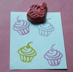 Mini Cupcake Rubber Stamp Hand Carved Cupcake Stamp by PoshBinky
