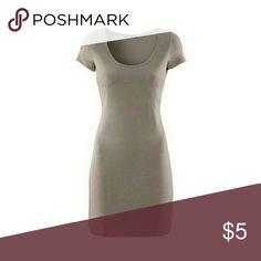 H&m Basics scoop neck mini dress Good condition (needs ironing). Scoop neck mini dress in taupe. 95% cotton 5% elastane. H&M Dresses Mini