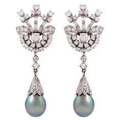 Tahitian Pearl, Diamond Platinum Earrings