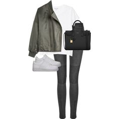 Untitled #7743 by alexsrogers on Polyvore featuring Monki, Madewell, BLK DNM, NIKE and Yves Saint Laurent