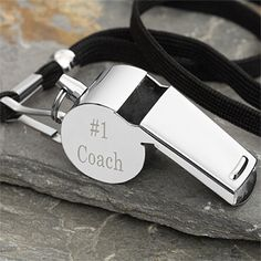 Awww what a cute gift idea for guys! It's a Personalized Stainless Steel Whistle that you can have engraved with any message on both sides of the whistle. Cute gift idea for a coach or great gift idea for Dad or Grandpa too!