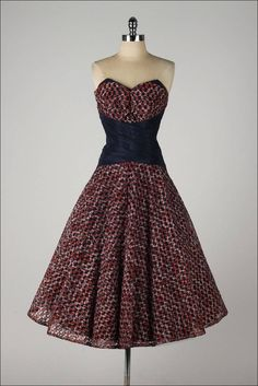 Vintage 1950's Woven Ribbon Strapless Dress