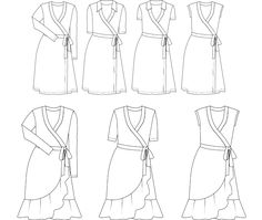 Wrap dress PDF sewing pattern size US 14-24 / Eur 44-54. The design is fitted to torso and flares from hip. Including several sleeves and a ruffled hemline.