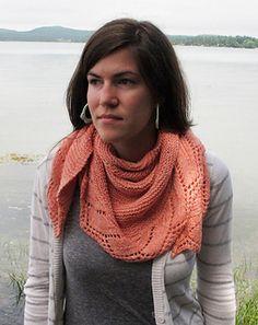 """Schieffelin Point Shawl"" by Kate Gagnon Osborn, a free pattern featuring Savannah in Pink Grapefruit."