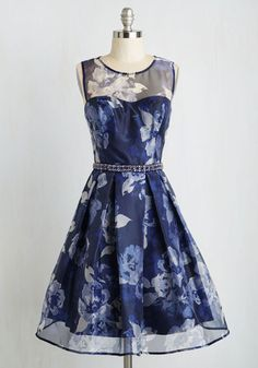 Fabulously Fascinating Dress - Blue, Floral, Print, Rhinestones, Belted, Special Occasion, Prom, Party, Cocktail, Holiday Party, Daytime Party, Homecoming, Fit & Flare, Sleeveless, Woven, Best, Mid-length, Tulle