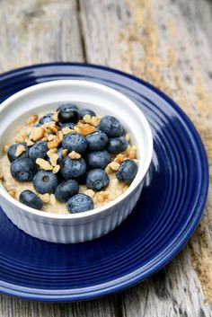 Oatmeal with fruit and nuts is a substantial breakfast that is loaded with protein and not carbs.