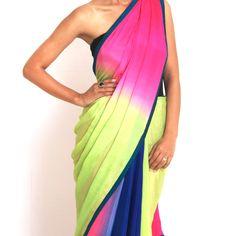 three toned hand dyed sultry #silk #saree #sari #india #design #designer
