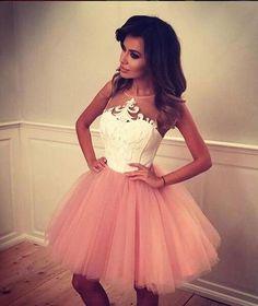 Cute A-line Short Blush Pink Prom Dress, Short