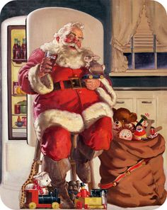 Coca-Cola is often credited for creating the image of the modern Santa Claus as an old, jolly and fat man in a red and white suit. Coca-Cola did invent the red-and-white jolly Santa during the 1930′s, the illustration done by Haddon Sundblom. Before Santa, pretty young women were used to endorse Coca-Cola.