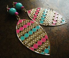 Dots Glass and Howlite Beaded Dangle earrings by SatinDollCo
