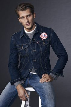 Gear up for opening day in our new, limited edition MLB gear, including the New… Denim Jacket Fashion, Denim Jacket Men, Denim Jackets, Men's Denim, Denim Style, Jean Jackets, Rockabilly Style Men, Estilo Denim, Levis Shirt