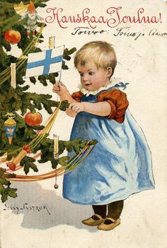 Hauskaa Joulua, Jenny Nyström (Merry Christmas, Finnish) tree adorned with apples, gnomes and candles. Vintage Greeting Cards, Vintage Christmas Cards, Vintage Postcards, Illustration Noel, Illustrations, Halloween Photos, Vintage Halloween, Christmas Past, Winter Christmas