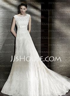 Wedding Dresses - $258.99 - A-Line/Princess Square Neckline Chapel Train Satin  Tulle Wedding Dresses With Lace. No bows sub sash and get mermaid skirt.