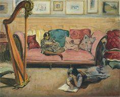 Interior with Harp - Henri Lebasque  French 1865-1937