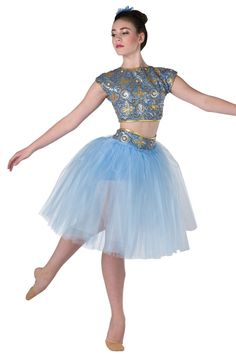 Style# 17391 LE CORSAIRE French blue spandex crop top with gold/royal sequin on mesh overlay. Separate matching shorts with attached copen tulle tutu. Gold metallic spandex binding trim. Headpiece included. SC-XXLA